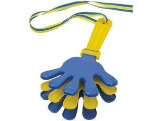 Blue and yellow hand clapper