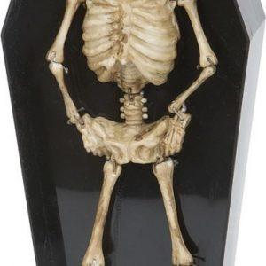 Dancing skeleton in coffin