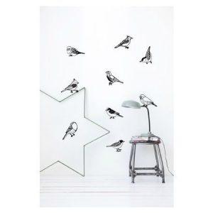 Ferm Living Drawing Birds seinätarra musta