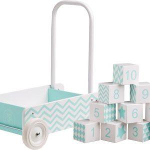 Kids Concept Barnkammaren Taaperokärry + Puupalikat Mintunvihreä Paketti