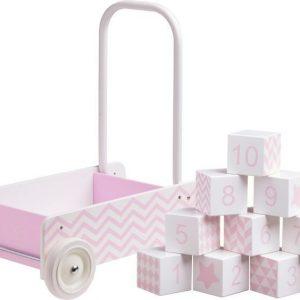 Kids Concept Barnkammaren Taaperokärry + Puupalikat Vaaleanpunainen Paket