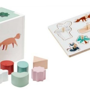 Kids Concept Edvin Palikkalaatikko + Palapeli Valkoinen Paketti