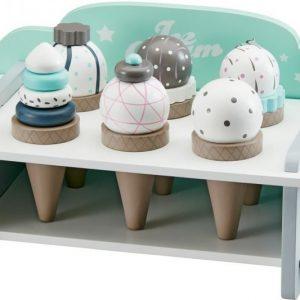 Kids Concept Leikkiruokaa Jäätelöteline ja jäätelöt 6 kpl