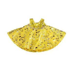 Kimalteleva keltainen mekko 40 cm