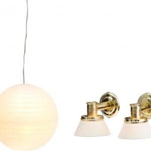 Lundby Småland Riisilamppu & 2 seinälamppua