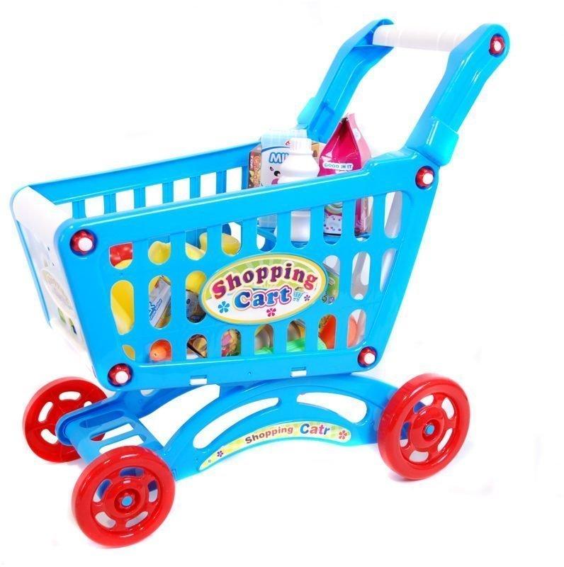 Ostoskärryt ja leikkiruokaa