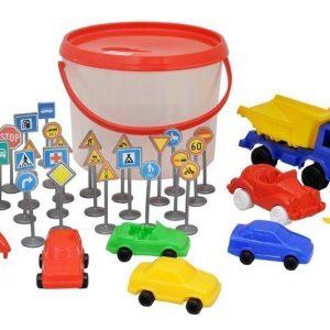 Plasto Ämpärillinen autoja ja liikennemerkkejä