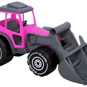 Plasto Traktori etukuormaajalla Harmaa/Vaaleanpunainen