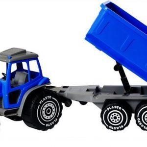 Plasto Traktori perävaunulla Sininen