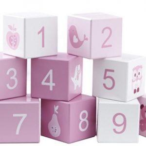 Pumpkin Puupalikat 123 & ABC Valkoinen/Vaaleanpunainen