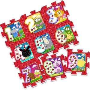 Puzzle play mat Figures and countryside animals 9 pcs