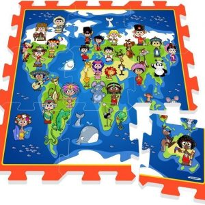 Puzzle play mat Kids on earth map 9 pcs