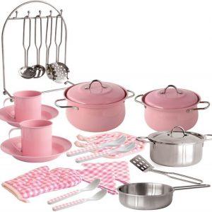 Ruoanlaittosetti metallia Vaaleanpunainen 23 osaa