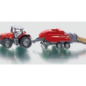 Siku Massey Ferguson traktori ja paalain