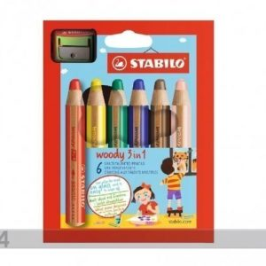 Stabilo Värikynät Stabilo Woody+Teroitin 6 Väriä