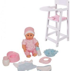 Stoy Dolls Nukke tarvikkeineen + Syöttötuoli Paketti