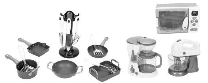 Stoy Play Keittiösetti + Kahvinkeitin + Mikroaaltouuni + Sähkövatkain Paketti
