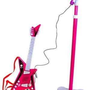 Supersonic Kitara ja mikrofoni sekä teline Pinkki