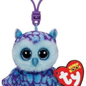 Ty Oscar Blue / Purple Owl Clip Pehmoeläin