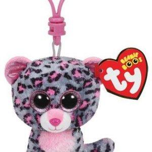 Ty Tasha Pink / Grey Leopard Clip Pehmoeläin