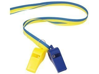 Whistle with ribbon