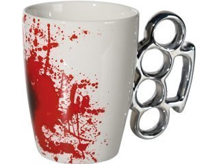 White ceramic mug with blood stains